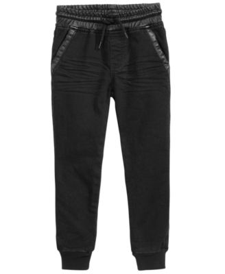 Little Boys Faux-Leather Trim Jogger Pants, Created for Macy's