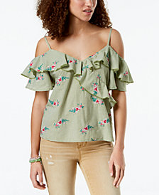 Gypsies & Moondust Juniors' Ruffled Gingham Off-The-Shoulder Blouse
