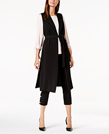 Nine West Belted Duster Vest, Tie-Sleeve Top & Straight-Leg Ankle Pants
