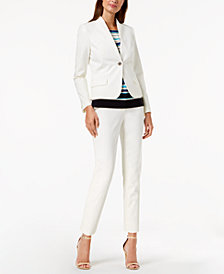 Tommy Hilfiger Stand-Collar Scuba Blazer, Striped Shell & Slim-Leg Ankle Pants