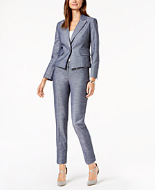 Nine West One-Button Denim Blazer & Slim-Leg Denim Pants