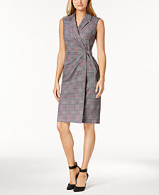 Calvin Klein Houndstooth Faux-Wrap Dress