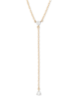 "Elsie May Diamond Lariat Necklace (1/10 ct. t.w.) in 14k Gold, 20"" + 1"" extender, Created for Macy's"