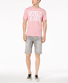 Calvin Klein Jeans Logo Print T-Shirt & Ripped Denim Shorts