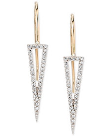 Elsie May Diamond Tall Open Triangle Drop Earrings (1/5 ct. t.w.) in 14k Gold & Sterling Silver, Created for Macy's