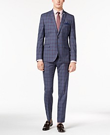 Men's Slim-Fit Stretch Denim Blue Plaid Suit