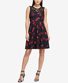 DKNY Floating Petals Fit & Flare Dress, Created for Macy's