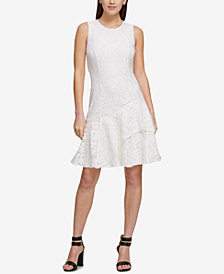 DKNY Asymmetrical Lace Midi Dress, Created for Macy's
