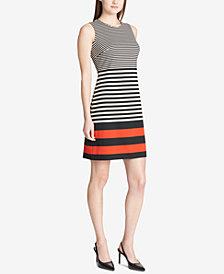 Calvin Klein Mixed-Stripe Sleeveless Dress