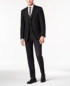 Calvin Klein Men's Slim-Fit Stretch Brown Neat Vested Suit