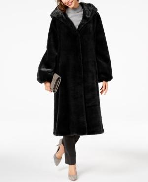 1920s Coats, Flapper Coats, 20s Jackets Jones New York Hooded Faux-Fur Coat $169.99 AT vintagedancer.com