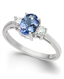 Tanzanite (1 ct. t.w.) & Diamond (1/6 ct. t.w.) Ring in 14k White Gold