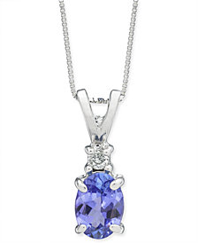 "Tanzanite (1 ct. t.w.) & Diamond Accent 18"" Pendant Necklace in 14k White Gold"