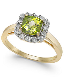 Peridot (1-1/10 ct. t.w.) & Diamond (1/3 ct. t.w.) Halo Ring in 14k Gold
