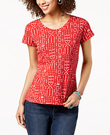 Style & Co Petite Cotton Printed Top, Created for Macy's