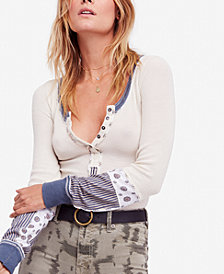 Free People Railroad Mixed-Print Henley