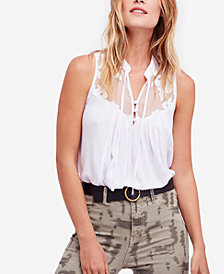 Free People Western Romance Illusion-Contrast Top