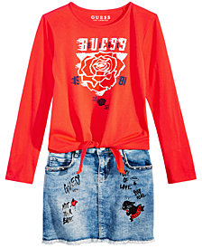 GUESS Big Girls Tie-Front T-Shirt & Denim Skirt