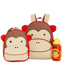 Skip Hop Monkey Backpack, Lunch Bag & Water Bottle Separates