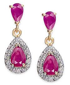 Ruby (1-5/8 ct. t.w.) & Diamond (1/4 ct. t.w.) Drop Earrings in 14k Gold