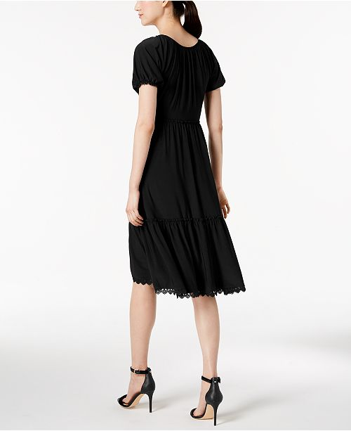 Tiered Black Klein Anne Flare Dress Fit Peasant amp; HvnqnFIP