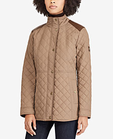 Lauren Ralph Lauren Faux-Leather-Trim Quilted Coat