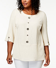 JM Collection Plus-Size Crinkled Button-Detail Top, Created for Macy's
