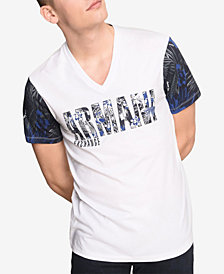 A|X Armani Exchange Men's Logo Palm Print Contrast Sleeve T-Shirt