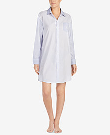 Lauren Ralph Lauren Striped Logo-Pocket Sleepshirt