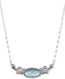 """Jenny Packham Silver-Tone Pavé & Stone Pendant Necklace, 16"""" + 2"""" extender"""