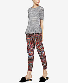 BCBGeneration Short-Sleeve Space-Dyed Ruffle Top