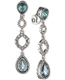 Jenny Packham Silver-Tone Pavé & Stone Clip-On Drop Earrings