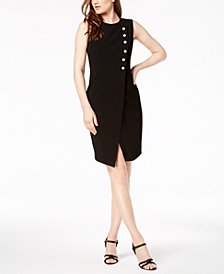 Calvin Klein Imitation-Pearl Wrap Sheath Dress, Regular & Petite