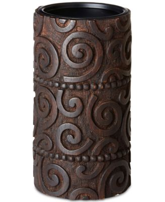 Ink & Ivy Pacheco Carved Wood & Iron Large Candle Holder