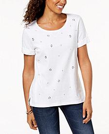 Karen Scott Cotton Grommet T-Shirt, Created for Macy's