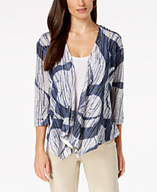 Alfani Petite Draped 3/4-Sleeve Cozy Cardigan, Created for Macy's