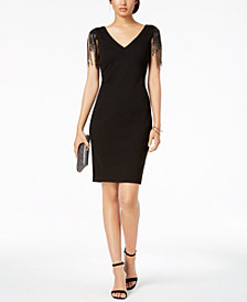 Betsy & Adam Chain-Fringe Sheath Dress