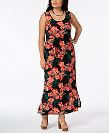 Fox & Royal Trendy Plus Size Floral-Print Maxi Dress