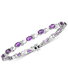 Amethyst (6 ct. t.w.) & Diamond Accent Link Bracelet in Sterling Silver (Also available in Garnet, Mystic Topaz & Peridot)