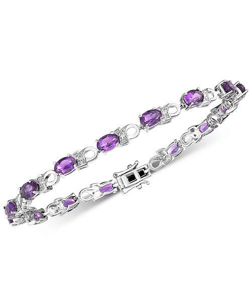 Macy's Amethyst (6 ct. t.w.) & Diamond Accent Link Bracelet in Sterling Silver (Also available Mystic Topaz)