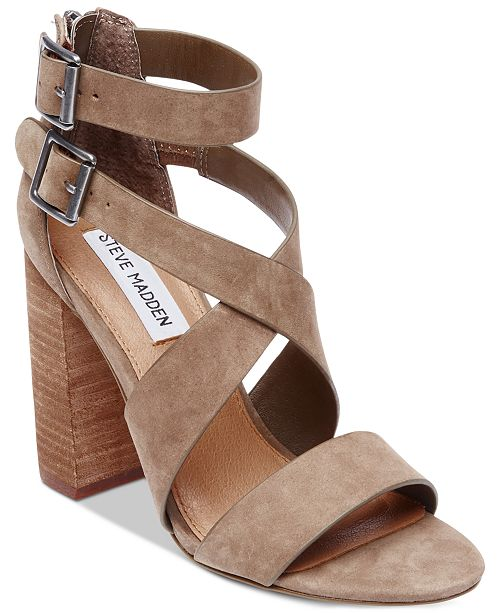 604e8ab26a2 Steve Madden Women s Sundance Stacked-Heel Dress Sandals   Reviews ...