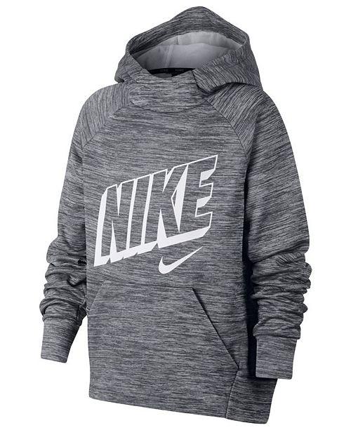 Nike Big Boys Therma Logo Print Training Hoodie Sweaters