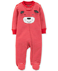 Carter's Baby Boys Striped Dog Footed Cotton Coverall