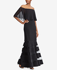 Lauren Ralph Lauren Off-The-Shoulder Fit & Flare Gown