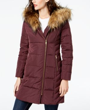 SIGNATURE FAUX-FUR-TRIM ASYMMETRICAL PUFFER COAT