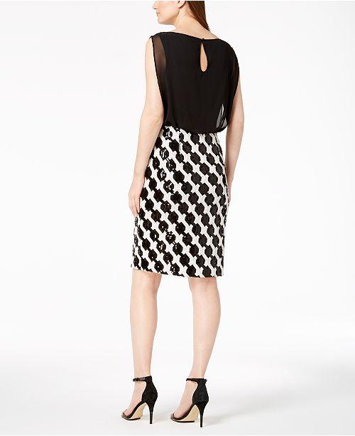 2b61f07c56d05 Calvin Klein Optical Sequins Blouson Dress - Dresses - Women - Macy s