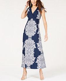 I.N.C. Scroll-Print Surplice Maxi Dress, Created for Macy's