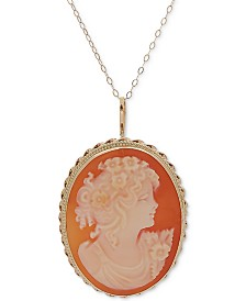 "Cornelian Shell Oval Cameo 18"" Pendant Necklace in 14k Gold"