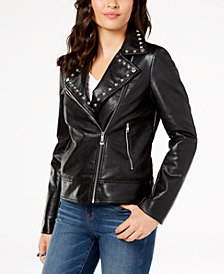 I.N.C. Studded Faux-Leather Moto Jacket, Created for Macy's