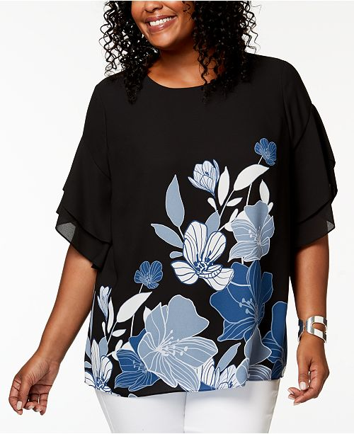 1047100196ea14 Alfani Plus Size Printed Dolman-Sleeve Top, Created for Macy's ...